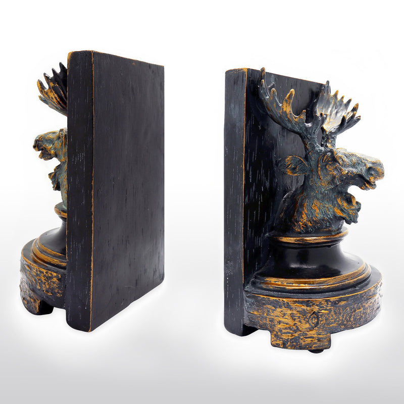 Bookends - Cast Resin Reindeer Head Bookends In Pair, Antique Finish