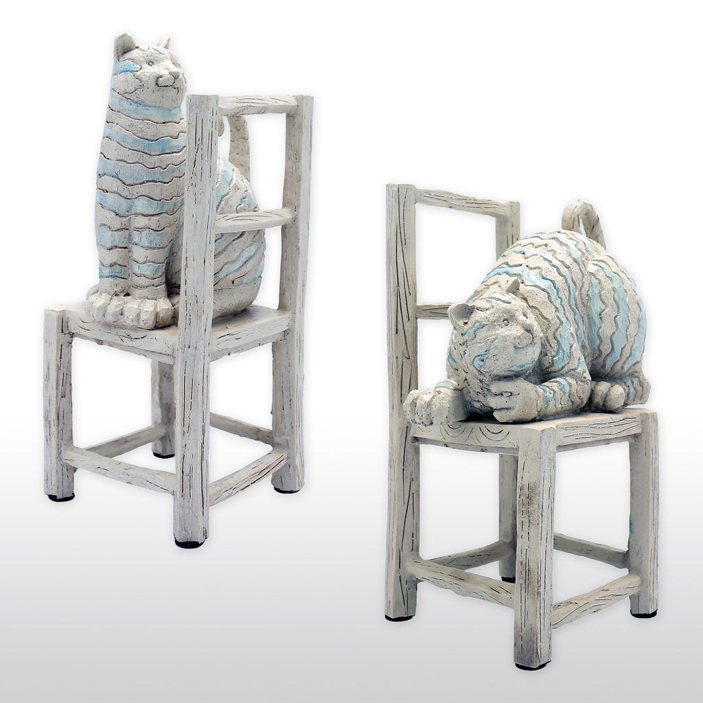 Bookends - Resin Cat On Chair Bookends In Pair, Neutral Colors