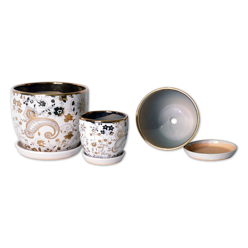 Ceramic Planters - A Trio Of Ceramic Planter With Tray Gold Plated In Lily-white