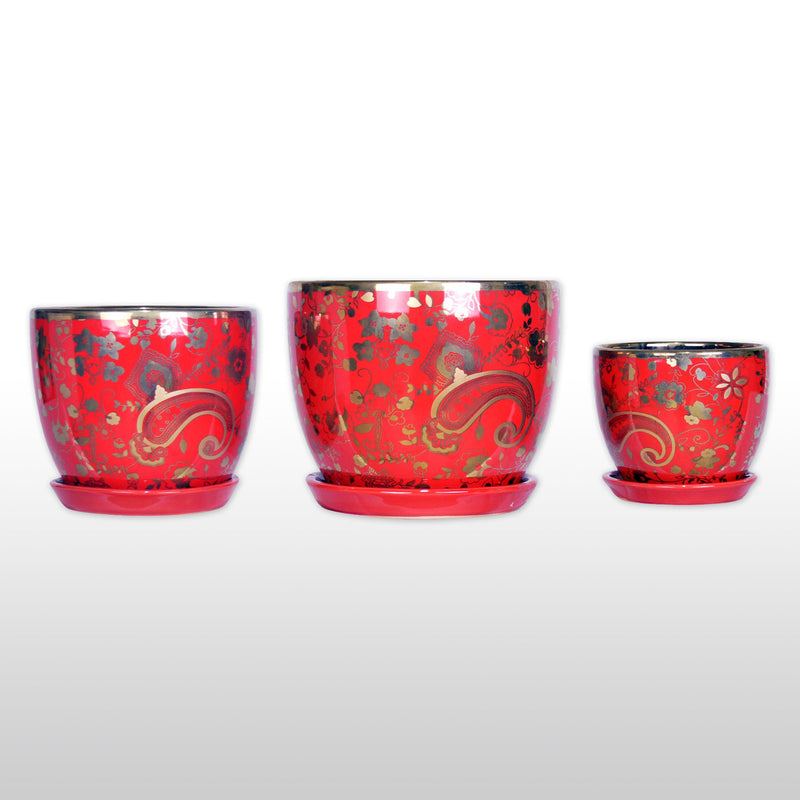 Ceramic Planters - A Trio Of Ceramic Planter With Tray Gold Plated In Red