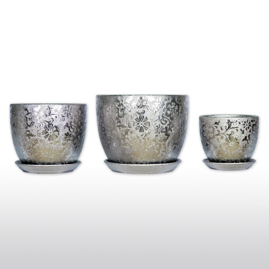 Ceramic Planters - A Trio Of Ceramic Planter With Tray In Titanium Silver
