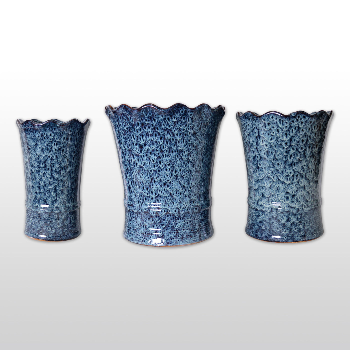 Ceramic Planters   A Trio Of Large Ceramic Flower Pot With White Patterns  On Blue Sheen ...
