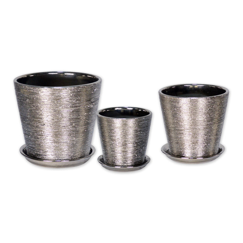 Ceramic Planters - Ceramic Flower Pots With Bottom Trays In Titanium Silver Set Of 3