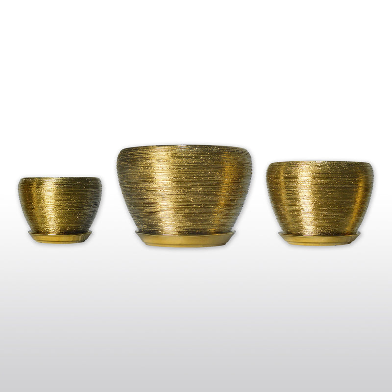 Ceramic Planters - Ceramic Planters With Bottom Trays In Gold Set Of 3