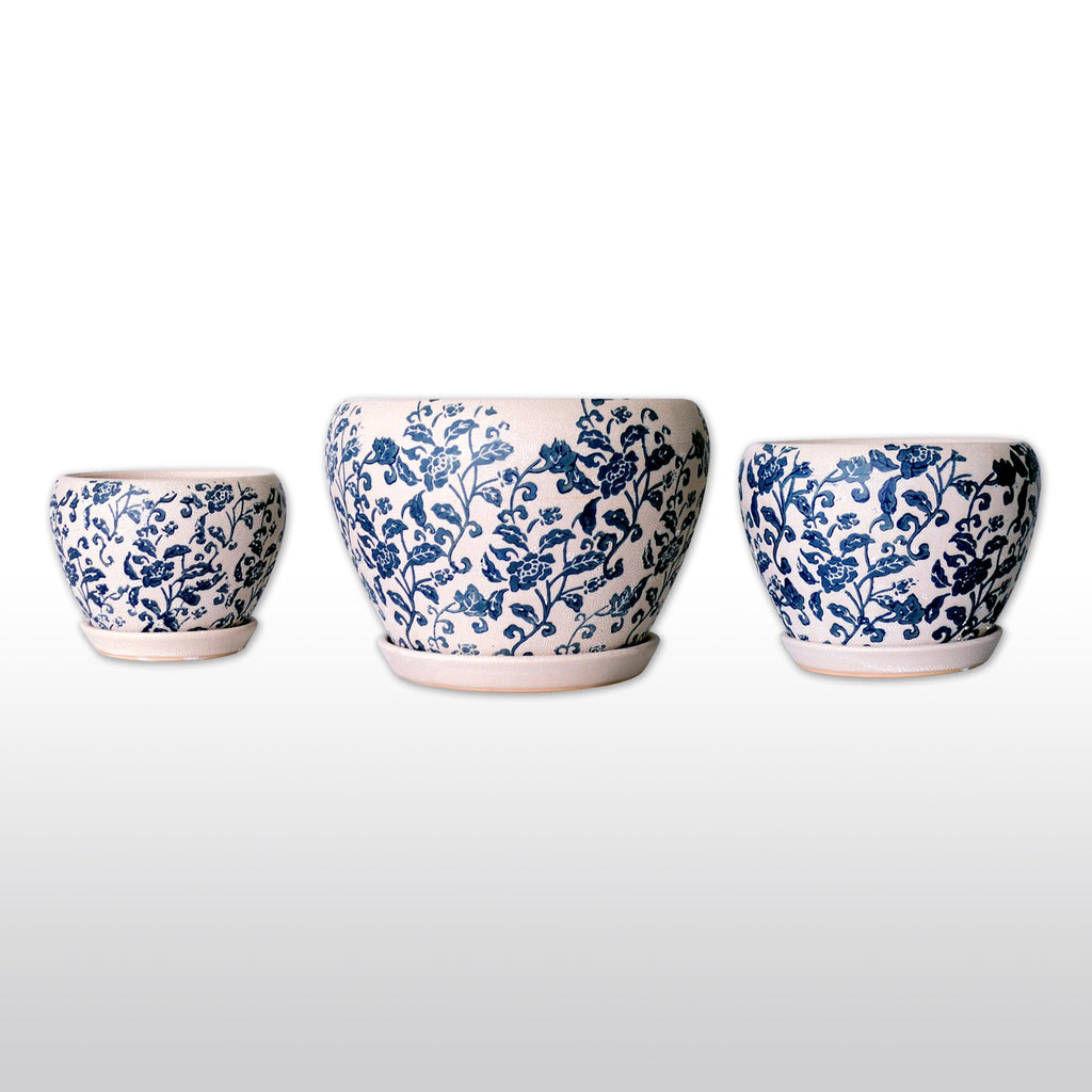 Ceramic Planters - Ceramic Planters With Trays With Blue Flower And Leaf Motif In Cream Set Of 3