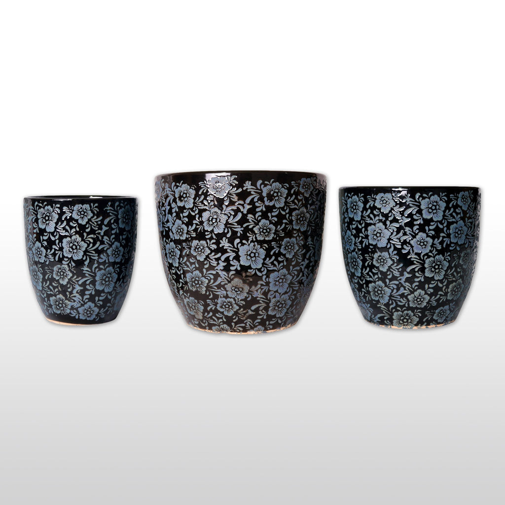 Ceramic Planters - Large Ceramic Flower Pots With Baby Blue Floral Design Embossed In Black Set Of 3