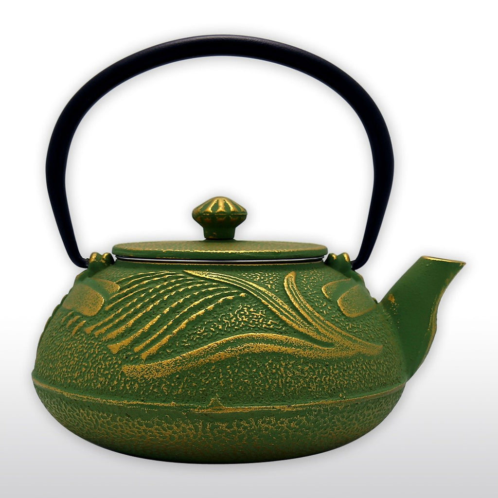 Coffee & Tea Wares - 26 Ounce Cast Iron Teapot Gold Dragonfly In Green