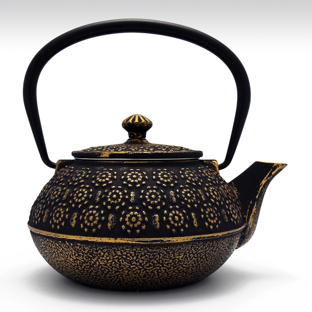 Coffee & Tea Wares - 31 Ounce Cast Iron Teapot Gold Floral Motif In Black