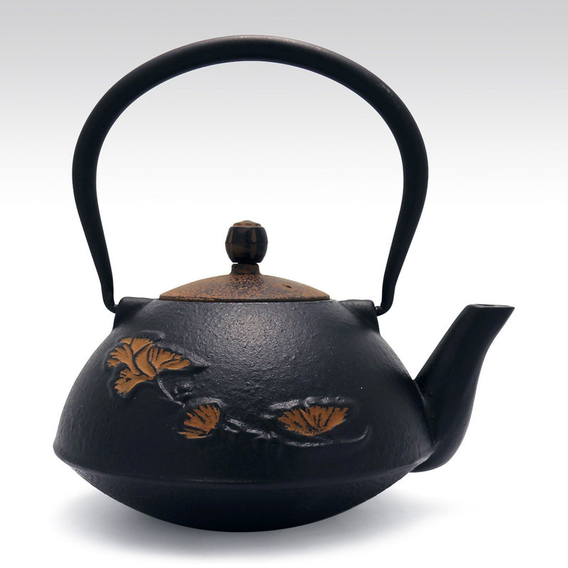 Coffee & Tea Wares - 38 Ounce Graceful Cast Iron Teapot Khaki Ginkgo Leaf In Black