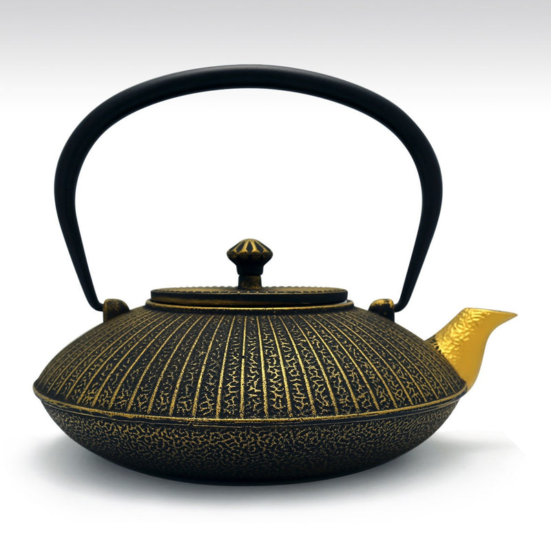 Coffee & Tea Wares - 42 Ounce Cast Iron Umbrella Teapot Black And Gold