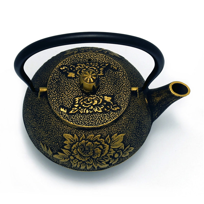 Coffee & Tea Wares - 45 Ounce Cast Iron Teapot Gold Peony In Black