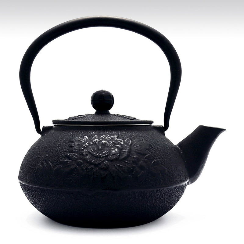 Coffee & Tea Wares - 45 Ounce Cast Iron Teapot Peony Motif In Black