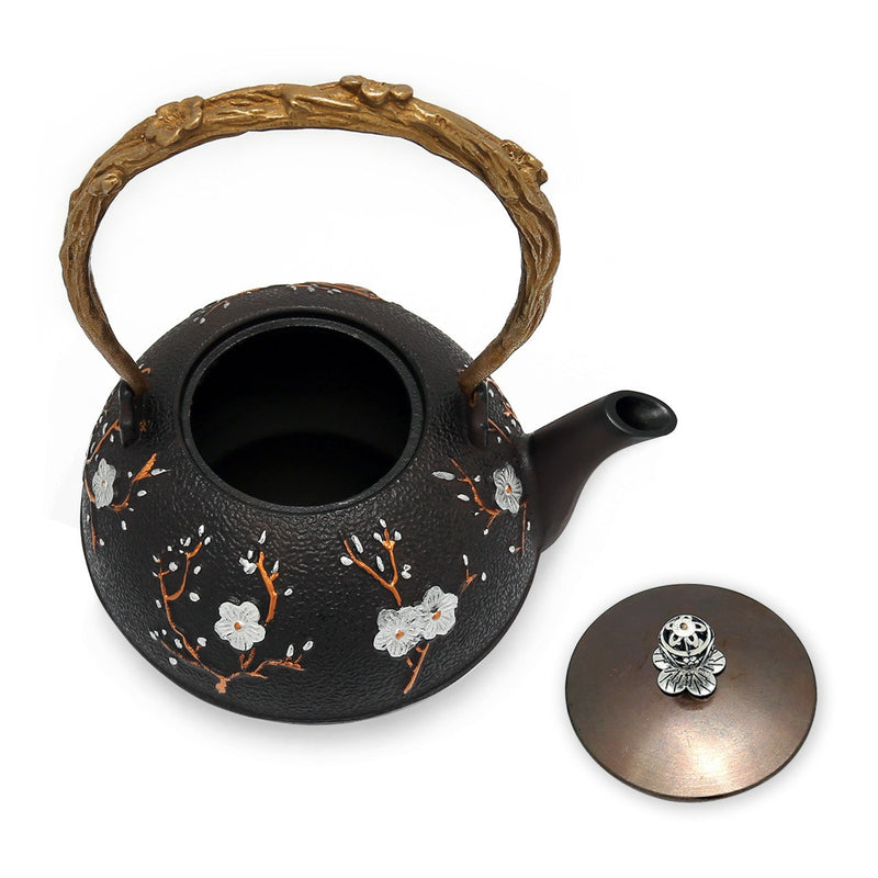 Coffee & Tea Wares - 46 Ounce Cast Iron Nobility Teapot With Plum Blossom Motif In Brownish Black