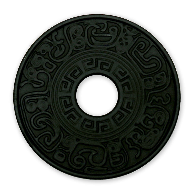 "Coffee & Tea Wares - 5-1/4"" Cast Iron Trivet With Decorative Pattern In Black"