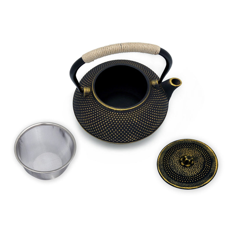 Coffee & Tea Wares - 58 Ounce Large Cast Iron Teapot In Black And Gold
