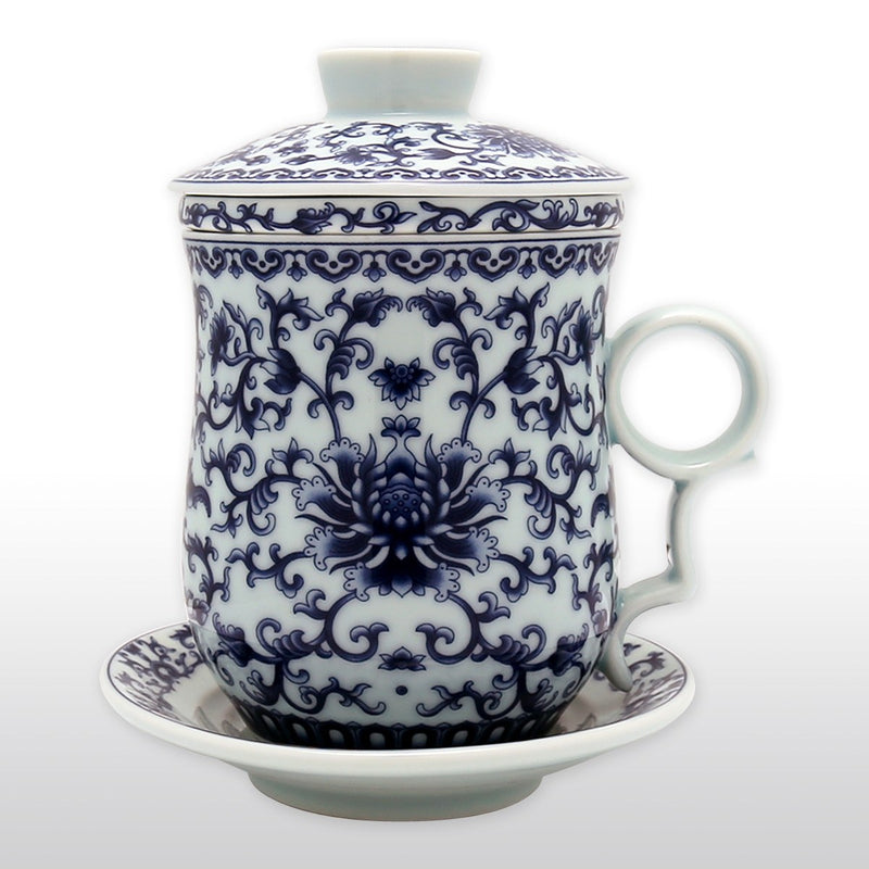 Chinese Blue And White High Fire Porcelain Tea Cup Floral