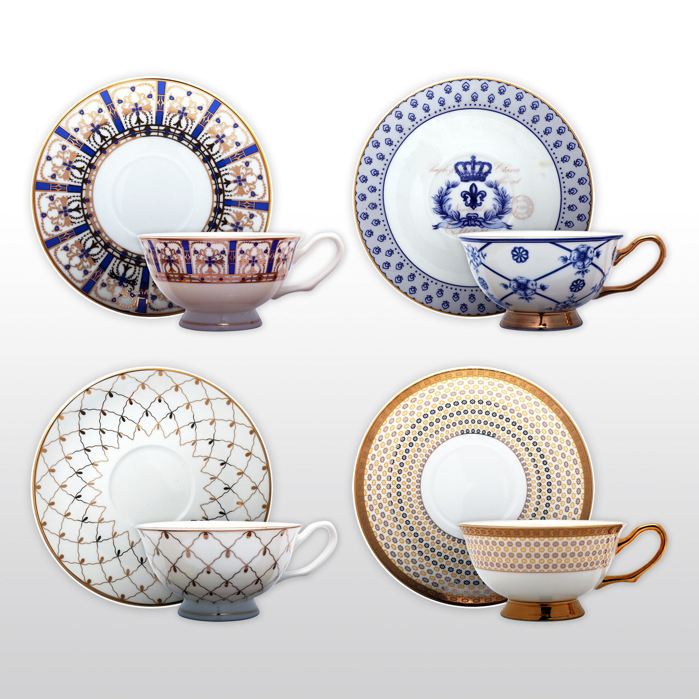 Japanese Assorted Blue and White Teacup Gift Set with Four Assorted Designs