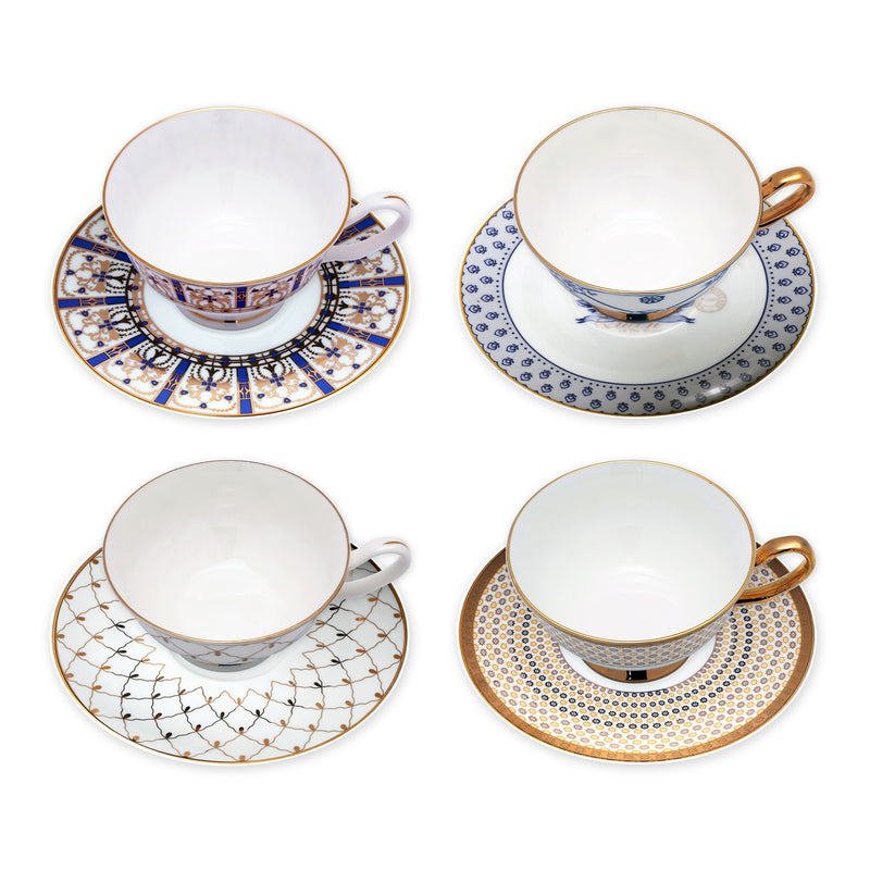 Coffee & Tea Wares, Featured Products - 8-Ounce Bone China Cup And Saucer With Assorted Designs Set Of 4