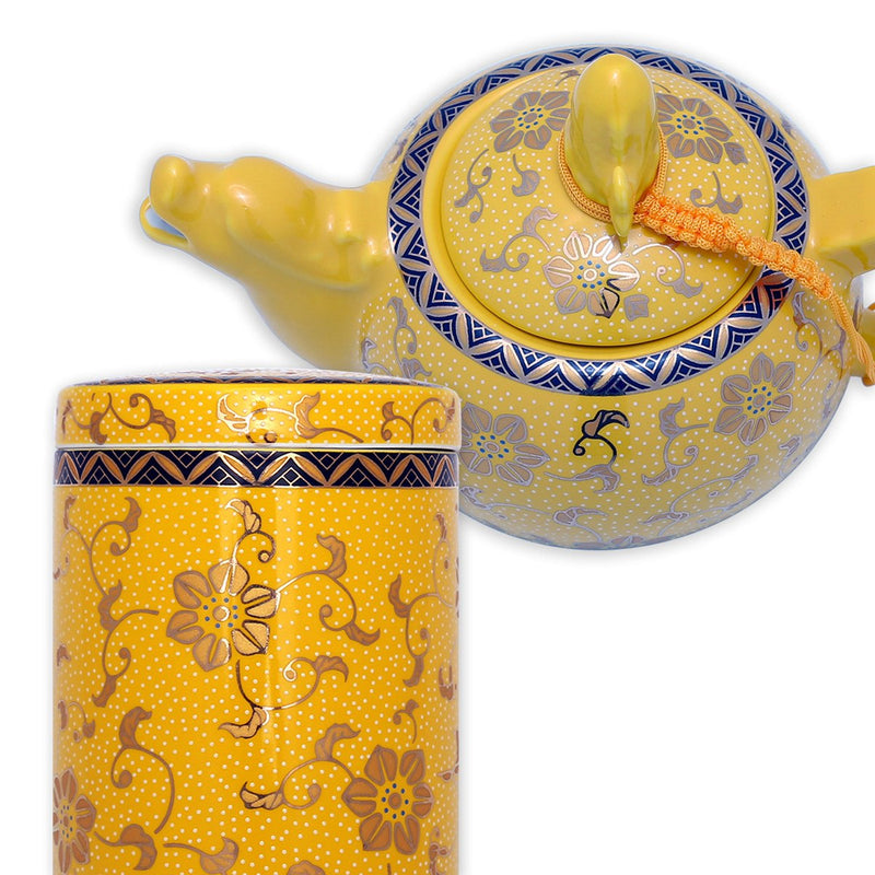 Coffee & Tea Wares, Featured Products - Chinese 8 Piece High Fire Porcelain Tea Set With Golden Glaze Covering