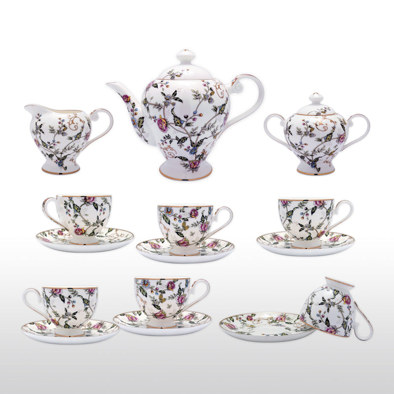 Coffee & Tea Wares, Featured Products - Fine Bone China 15 Piece Coffee Set High Capacity Elegant Floral And Leaf Motif