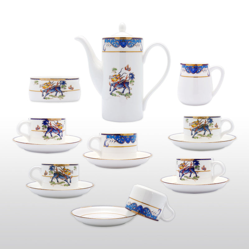 Coffee & Tea Wares, Featured Products - Fine Bone China 15 Piece Coffee Set With Kylin And Gold Rim Blue Tone