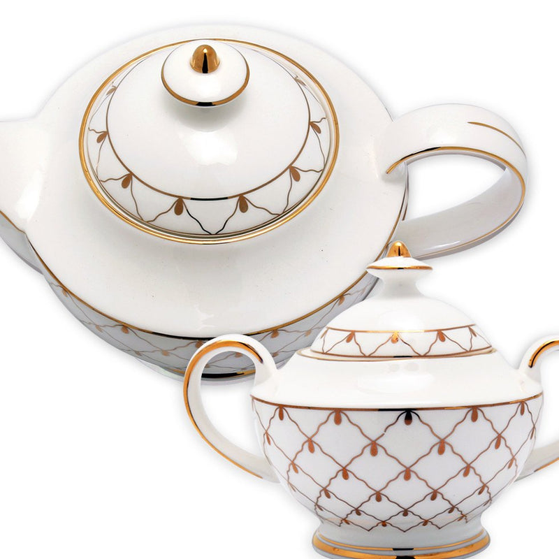 Coffee & Tea Wares, Featured Products - Fine Bone China Coffee Set In High Capacity Gold Mesh Design Set Of 15