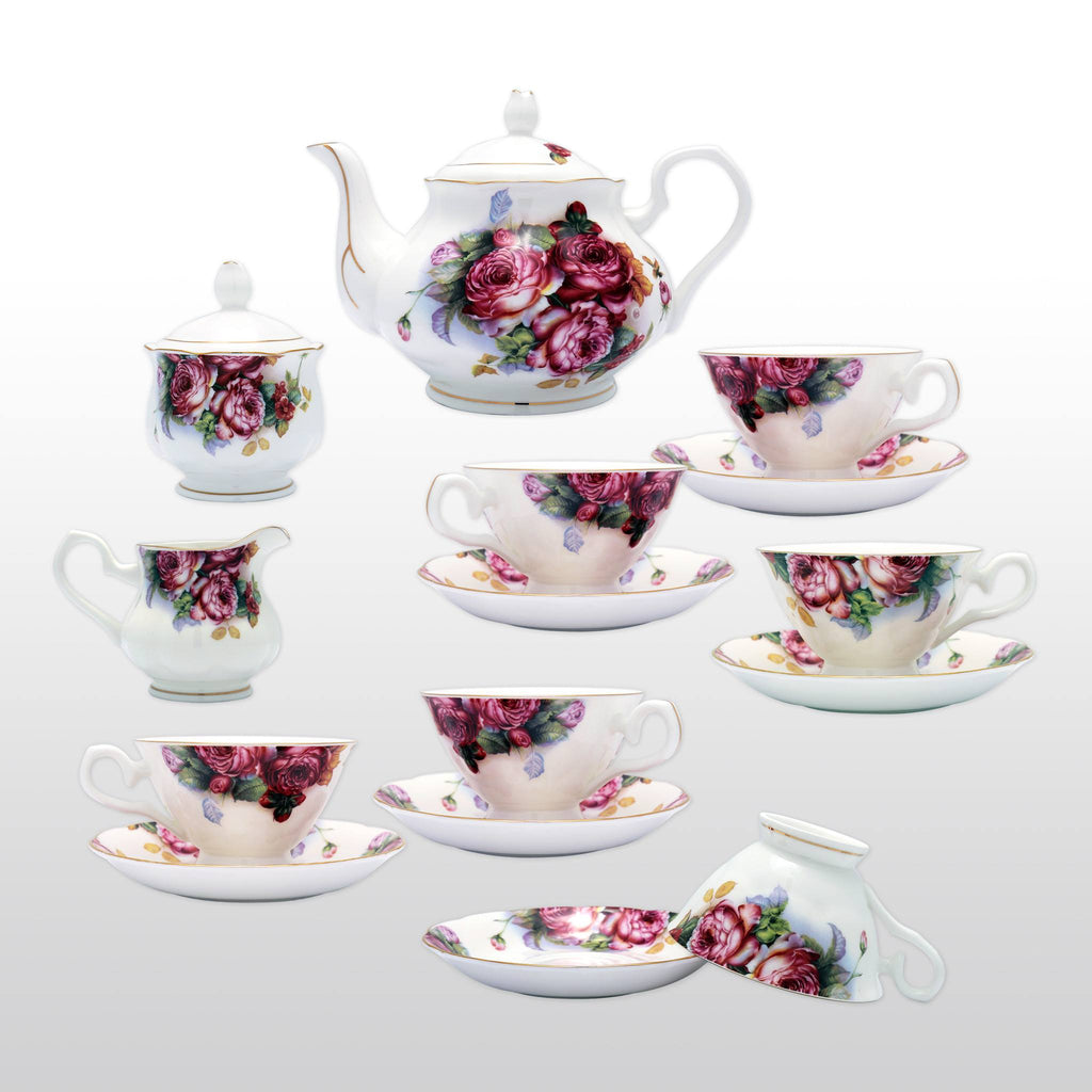 coffee u0026 tea wares fine bone china 15 piece coffee set blossoms in dark fuchsia