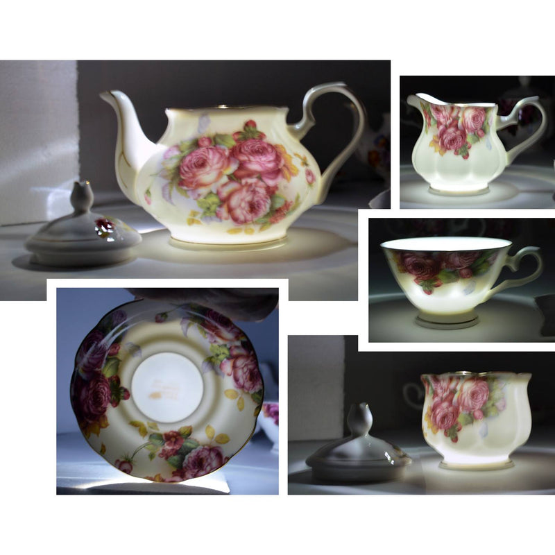 Coffee & Tea Wares - Fine Bone China 15 Piece Coffee Set Blossoms In Dark Fuchsia