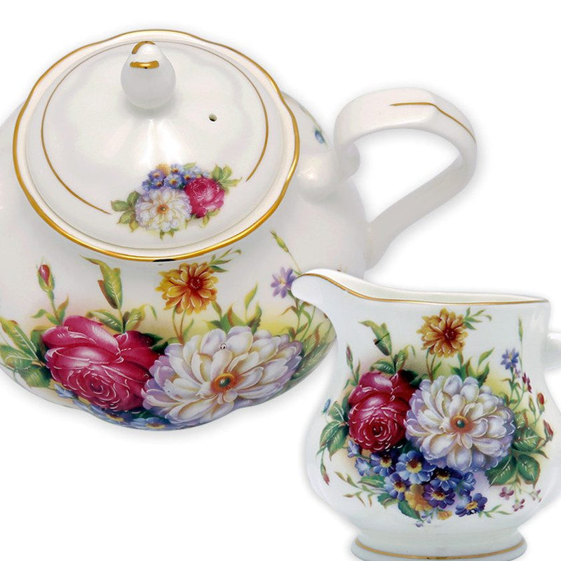 Coffee & Tea Wares - Fine Bone China 15 Piece Coffee Set Colorful Blossoms