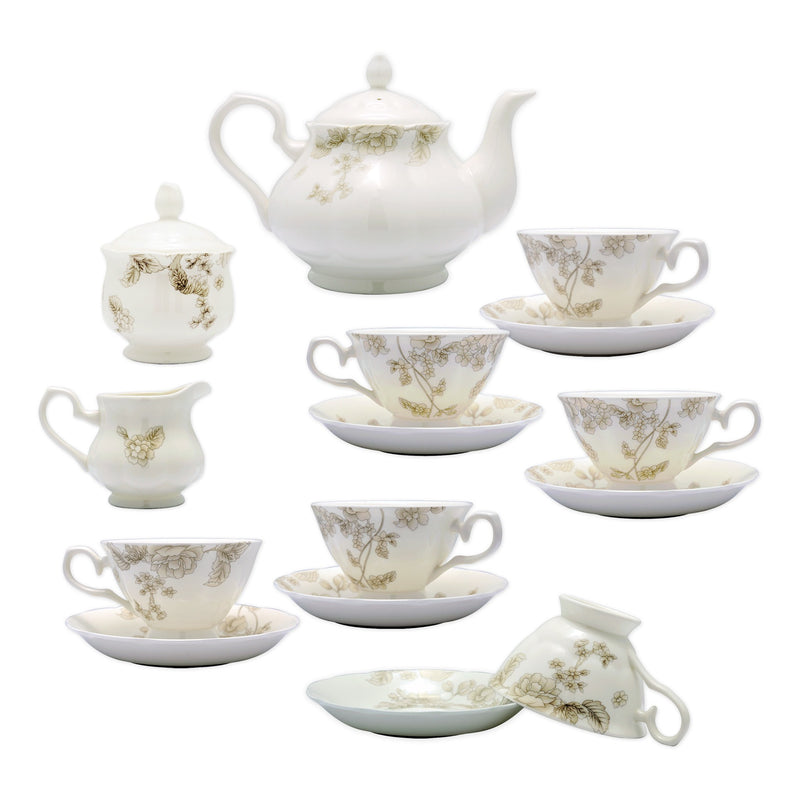 Coffee & Tea Wares - Fine Bone China 15 Piece Coffee Set Elegant Flower And Leaf Motif