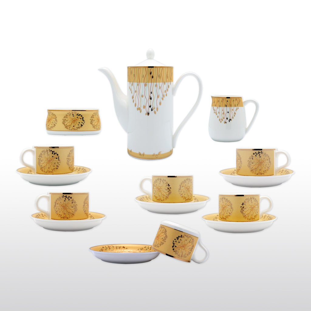 coffee u0026 tea wares fine bone china 15 piece coffee set gold decorative dots in