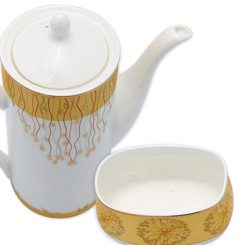 Coffee & Tea Wares - Fine Bone China 15 Piece Coffee Set Gold Decorative Dots In Golden Background