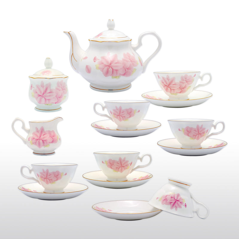 Coffee & Tea Wares - Fine Bone China 15 Piece Coffee Set Pink Kapok Blossom Motif