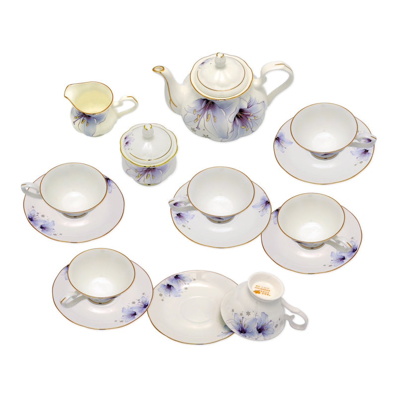 Coffee & Tea Wares - Fine Bone China 15 Piece Coffee Set Purple Lily Motif