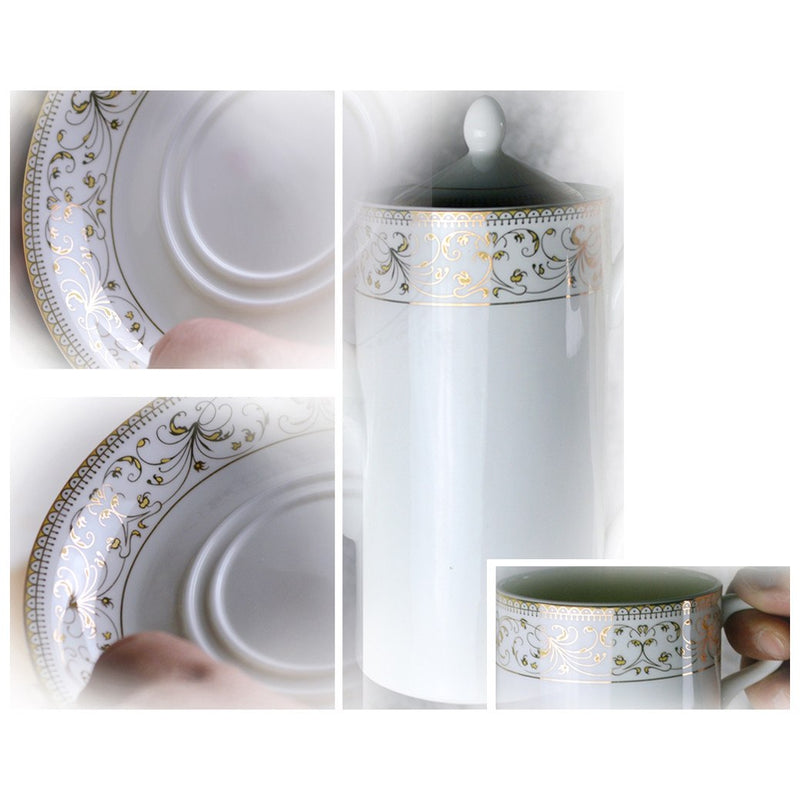 Coffee & Tea Wares - Fine Bone China 15 Piece Coffee Set Rimmed With Decorative Gold Leaf