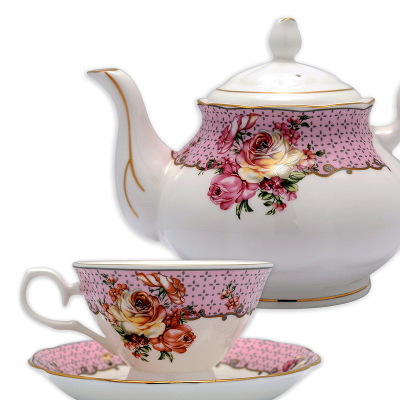 Coffee & Tea Wares - Fine Bone China 15 Piece Coffee Set Rose On Decorative Patterns