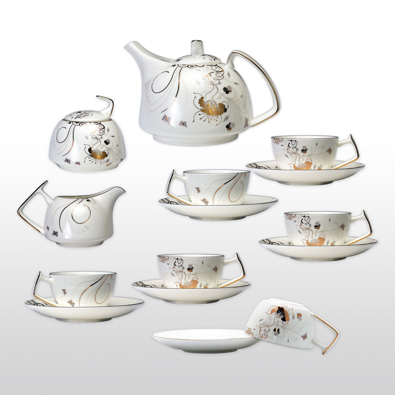 Coffee & Tea Wares - Fine Bone China 15 Piece Coffee Set With Gold Leaf Butterfly Dancing In Branch Design