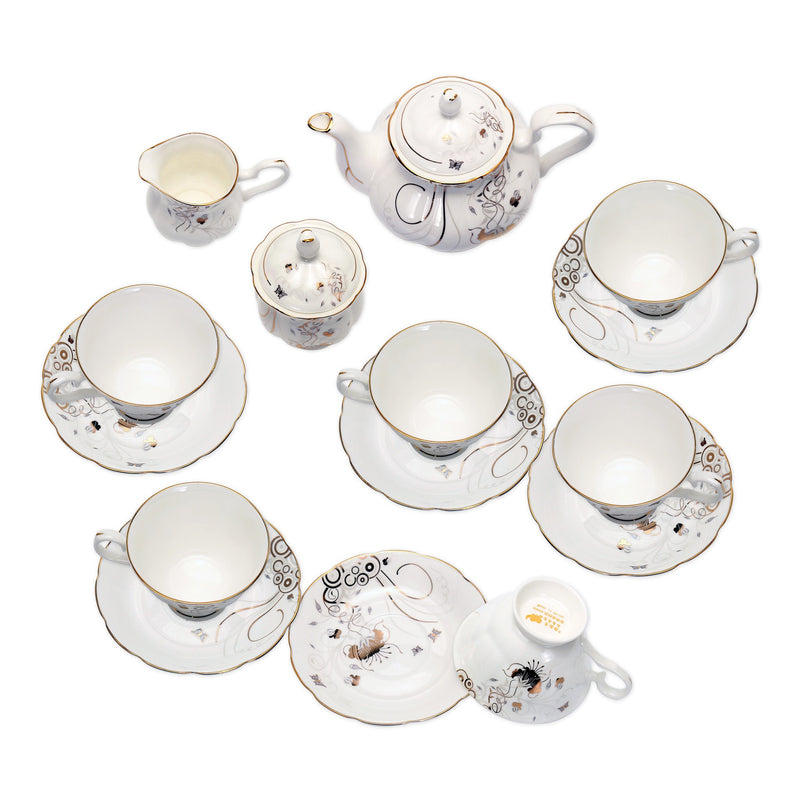 Coffee & Tea Wares - Fine Bone China 15 Piece Coffee Set With Gold Leaf Butterfly Dancing In Branch Motif