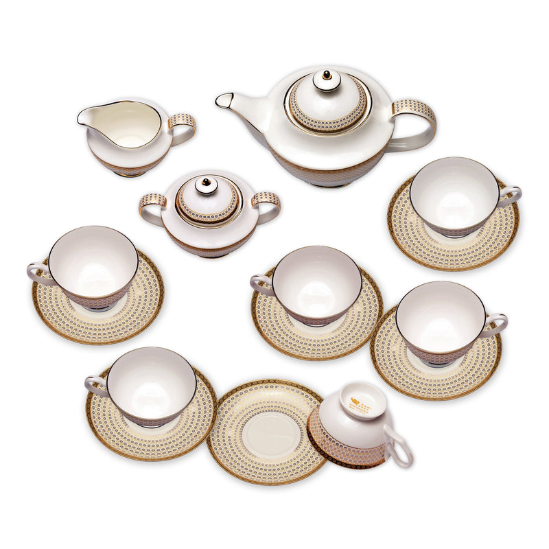 Coffee & Tea Wares - Fine Bone China Coffee Set In High Capacity Gold Rim And Diamond Patterns Set Of 15