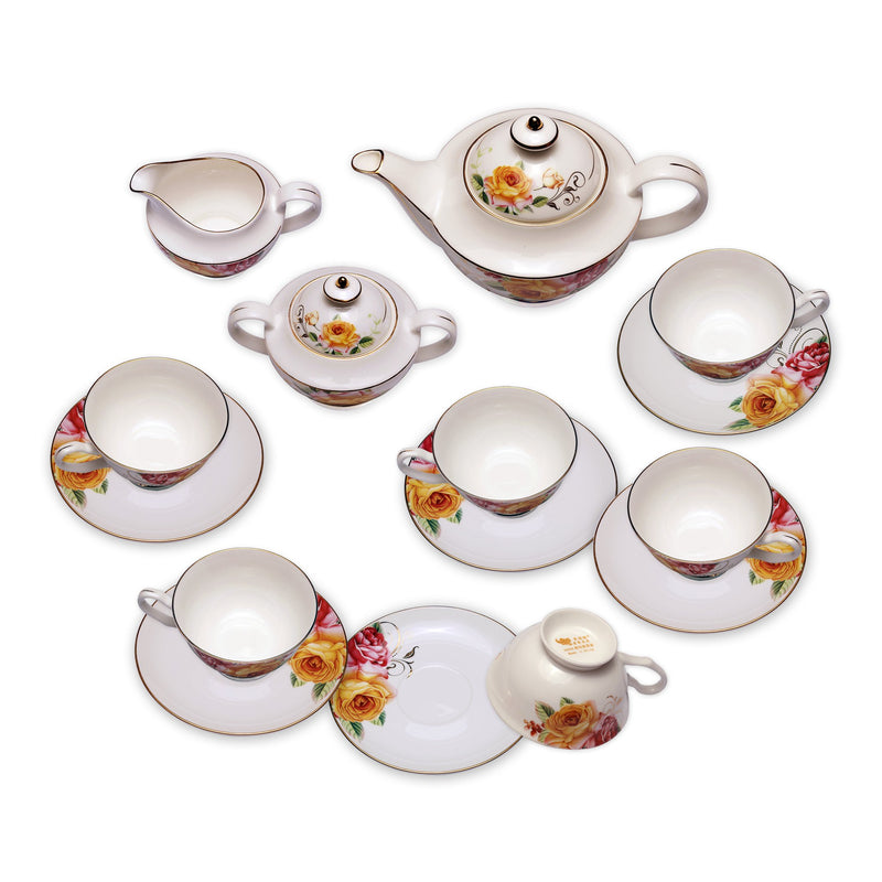 Coffee & Tea Wares - Fine Bone China Coffee Set In High Capacity Rose Motif And Gold Twigs Set Of 15