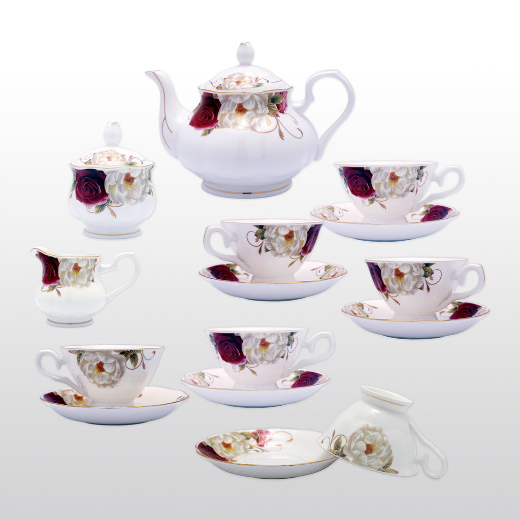 Coffee & Tea Wares - Fine Bone China Coffee Set In Rose Motif Set Of 15