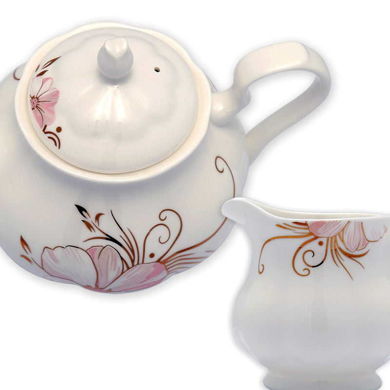 Coffee & Tea Wares - Fine Bone China Coffee Set Pink Blossom And Gold Twig Set Of 15