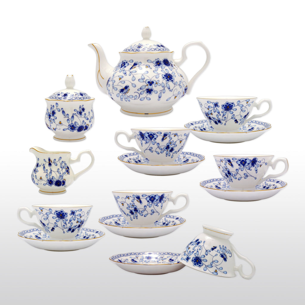 fine bone china 15 piece coffee tea set purple lily with teapo homenique. Black Bedroom Furniture Sets. Home Design Ideas