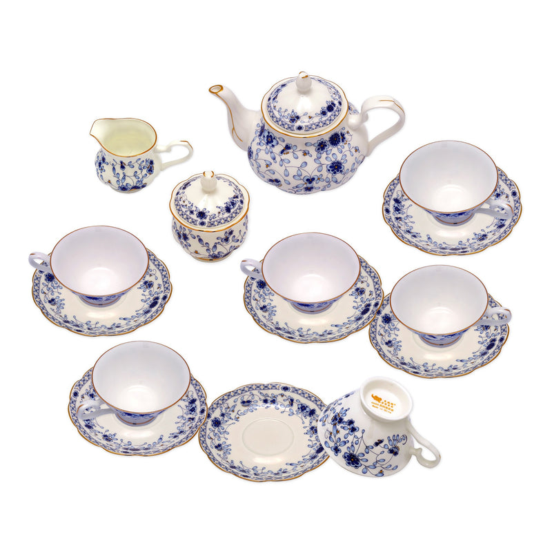 Coffee & Tea Wares - Fine Bone China Coffee Set With Elegant Blue And White Design Set Of 15