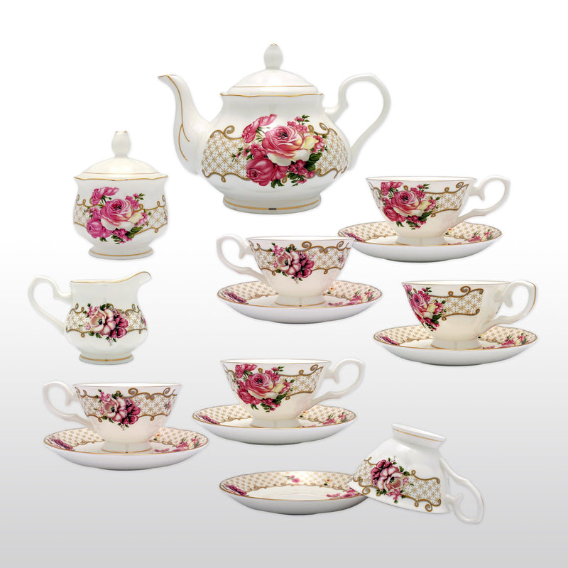 Coffee & Tea Wares - Fine Bone China Coffee Set With Pink Rose Design And Decorative Patterns Set Of 15