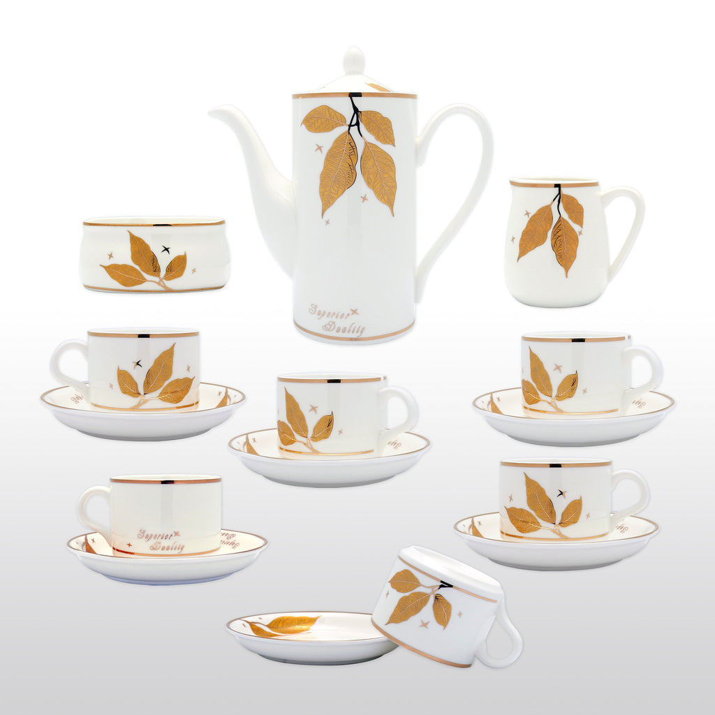 Coffee & Tea Wares - Fine Bone China Coffee Set Yellow Leaf Motif Set Of 15