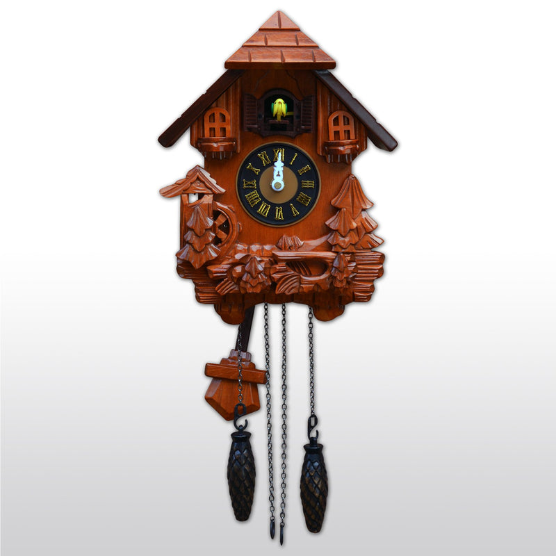 "Cuckoo Clocks - 17"" Black Forest Quartz Cuckoo Clock With Bird Chimes The Hour"
