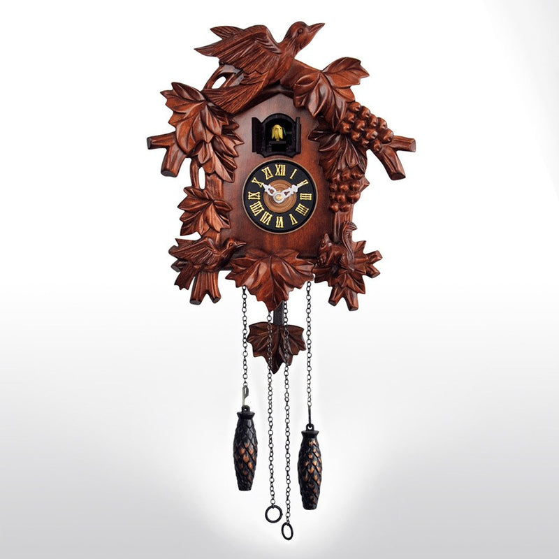 "Cuckoo Clocks - 17"" Cuckoo Clock Hand Carved Wooden Accents Quartz Movement Requires 3C Batteries"