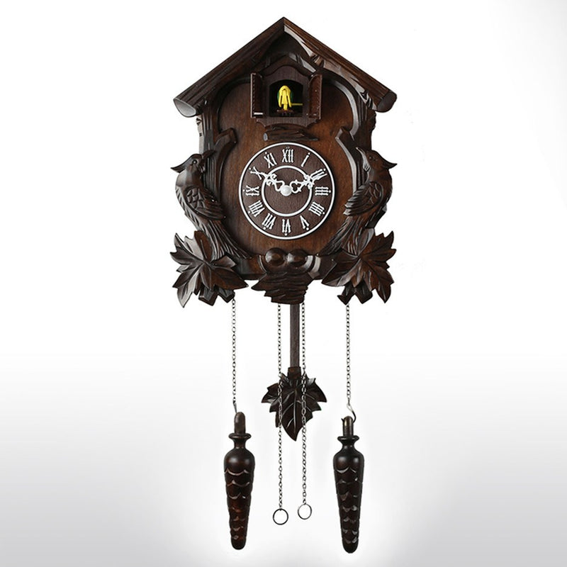 "Cuckoo Clocks - 23"" Black Forest Wooden Cuckoo Clock With Hand Carvings And Chirping Bird"