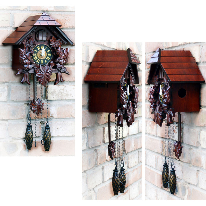 Cuckoo Clocks - Cuckoo Clock Hand Carved Wooden Accents Precise Quartz Movement Requires 3 C Batteries